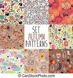 Set of autumn patterns