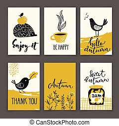 Set of autumn poster designs with motivating text in yellow color