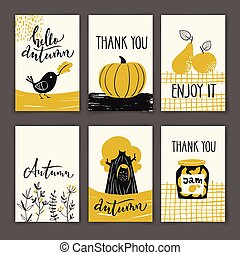 Set of autumn poster designs with motivating text