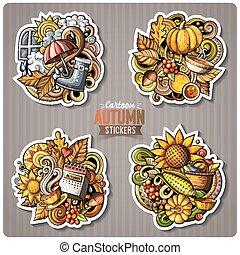Set of Autumn season cartoon vector stickers