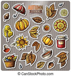Set of Autumn season cartoon vector stickers