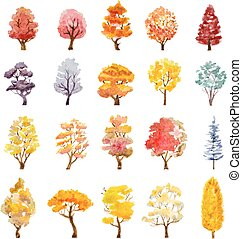 set of autumn trees. hand drawn watercolor vector illustration