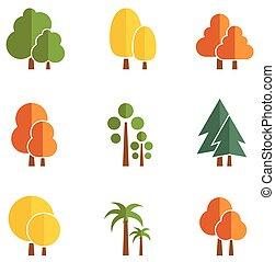 set of autumn trees