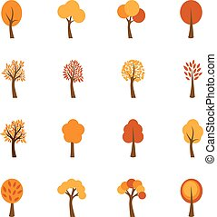 Set of autumn trees, vector illustration