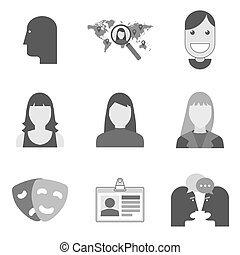 Set of avatar icons and symbols in trendy flat style isolated on white background.