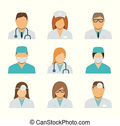 Set of avatar icons for medical staff