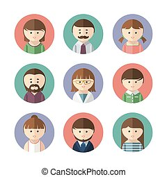Set of avatar icons. Vector illustration