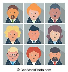 Set of avatar icons with business people