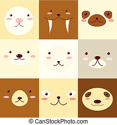 Set of avatars icons with faces of cute animals - Collection...