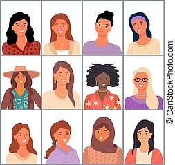 Set of avatars in flat design style. Positive young girl different nationalities. Female faces