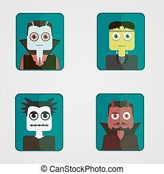 Set of avatars on a Halloween theme.