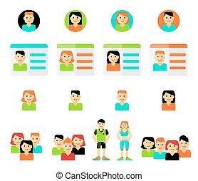 Set of avatars. Vector illustration, flat icons.