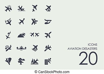 Set of aviation desasters icons - aviation desasters vector...