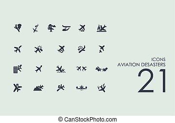 Set of aviation desasters icons