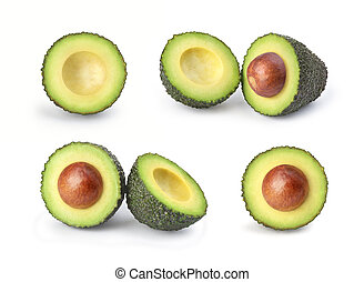 set of avocados on a white background
