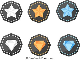 Vector set of icons with awards symbols of stars and diamonds in silver, gold and platinum colors on the black polygonal background