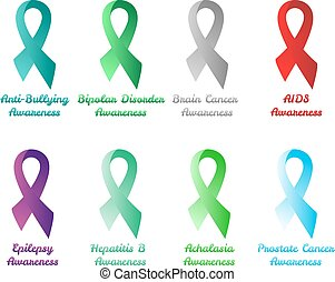 Set of awareness ribbons: anti-bullying, bipolar disorder, brain, aids, epilepsy, hepatitis b, acholasia, prostate cancer