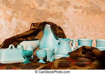 Set of azure dishes in Santanyi market, Mallorca