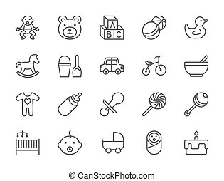 Set of Baby and Childhood Line Icons. Toys, Bicycle,, Stroller and more.