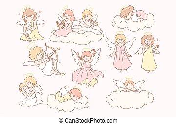 Set of baby angels cupidons concept