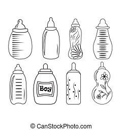 set of baby bottles in vector EPS 10