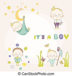 Set of Baby Boy - for Baby Shower or Arrival Card - in vector