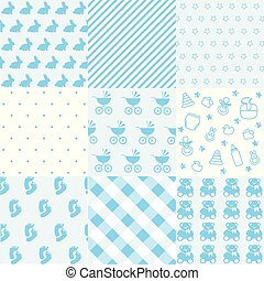 Set of baby boy patterns. Seamless blue pattern vector. Graphic design elements