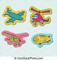 Set of Baby Boy Plane Stickers - for design and scrapbook - in vector