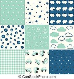 Set of baby boy seamless patterns