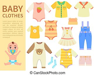 Set of Baby Clothes Isolated on White background