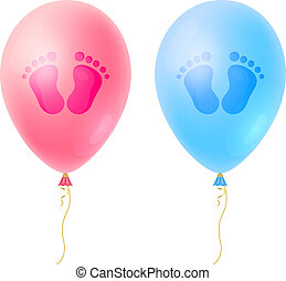 Set of Baby footsteps, girls and boys footprint with realistic Balloons. It's a Girl Baby Shower lovely cards