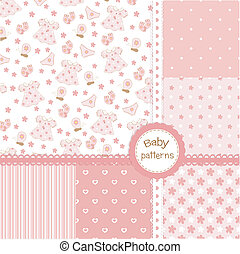 Set of baby girl seamless patterns
