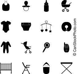 Set of baby icons, vector illustration