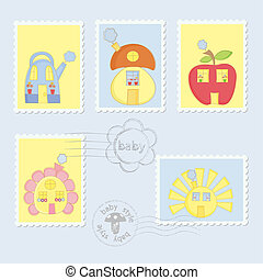 Set of Baby Postage Stamps