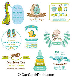 Set of Baby Shower and Arrival Cards - with place for your text - in vector