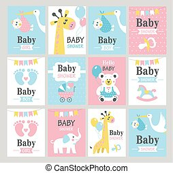Set of baby shower cards.