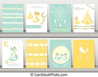 Set of baby shower invitation cards