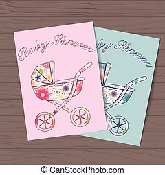 Set of baby showers with carriages on wooden background