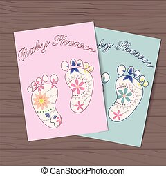 Set of baby showers with feet on wooden background