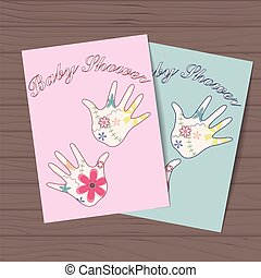 Set of baby showers with hands on wooden background