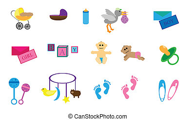 Collection of 15 items with a baby theme. Bassinet, pram, stork, baby boy, baby girl, foot prints, and toys.