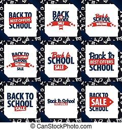 Set of Back to School backgrounds. Education banner. Vector illustration.