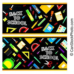 Set of back to school banners. School supplies on blackboard background.