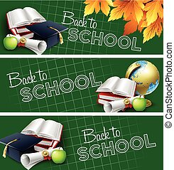 Set of back to school banners. Vector illustration