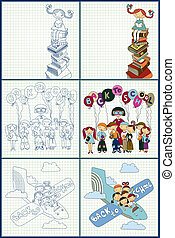 set of back to school concept vector illustration
