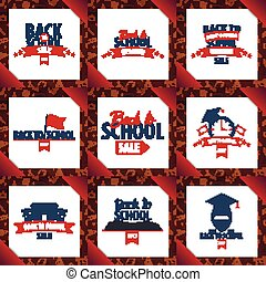Set of Back to School wooden background. Education banner. Vector illustration.