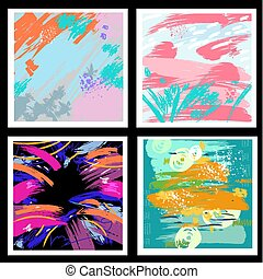 Set of backgrounds from brush strokes