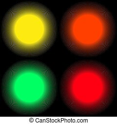 Set of backgrounds in the form of colored balls with rays isolated on a black background