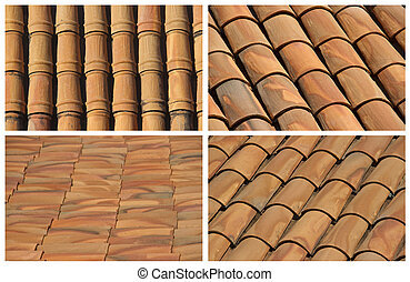 Set of backgrounds of roof tiles