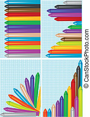 set of backgrounds with crayons